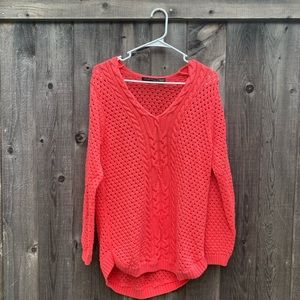 Jeanne Pierre Coral Cable Knit V Neck Sweater L